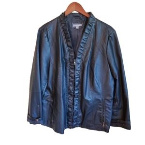 Women's Roz &Ali faux black leather jacket 18/20
